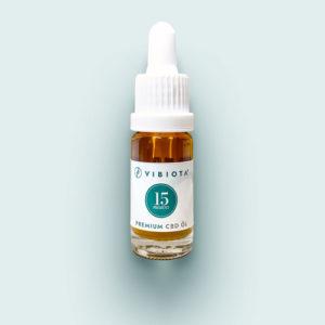 Product photo VIBIOTA organic CBD oil 10ml bottle, 15%, 1500mg CBD, full spectrum, based on MCT oil