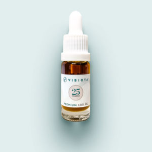 Product photo VIBIOTA organic CBD oil 10ml bottle, 25%, 2500mg CBD, full spectrum, based on MCT oil